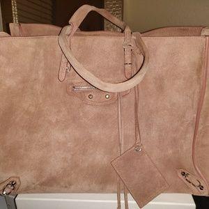 Balenciaga papier a4 suede blush tote bag